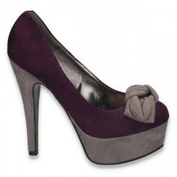 Pantofi inalti, imitatie velur, cu fundita, mov-gri - LS226