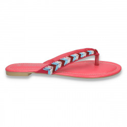 Papuci dama infradito, cu margele multicolore, fucsia - LS227