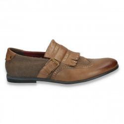 Pantofi fashion, barbati, cu elemente in stil Oxford, maro  - W9