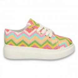 Pantofi casual, dama, cu talpa inalta, multicolor-roz - W13