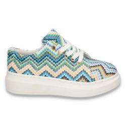 Pantofi casual, dama, cu talpa inalta, multicolor-albastru - W14