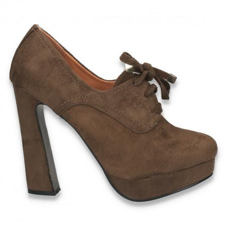Pantofi dama cu siret si toc inalt, masiv, maro - W15