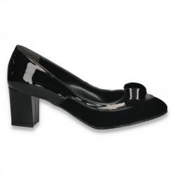 Pantofi office, pentru dama, cu toc mediu, negri - W16