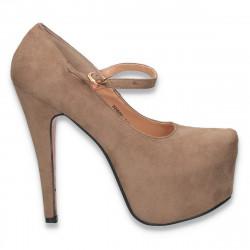 Pantofi dama fashion, cu bareta si platforma, taupe - W17