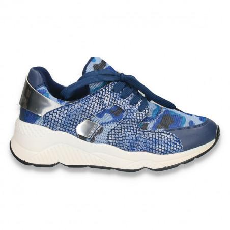 Sneakers moderni pentru dama, cu imprimeu croco, albastri - W21