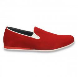 Pantofi fashion barbati, din piele intoarsa, rosii - W22
