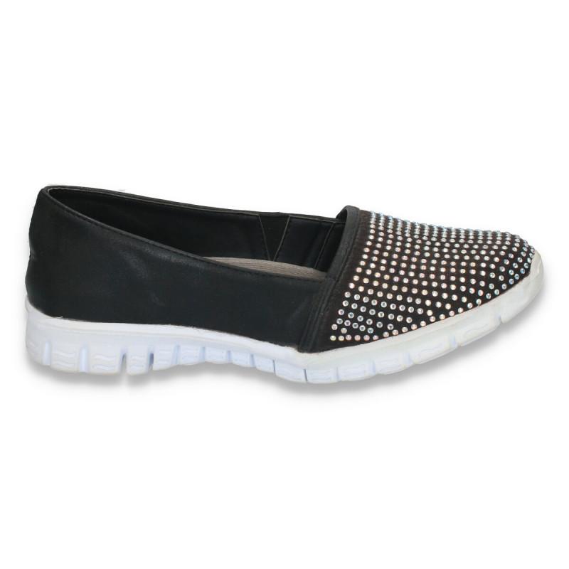 Sneakers femei, cu strasuri, negri - W24