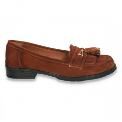 Pantofi dama tip mocasini, din imitatie velur, maro - W27