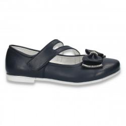 Pantofi fete, cu bareta si fundita, bleumarin - W29