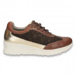 Sneakers din piele pentru dama, maro-auriu - W37
