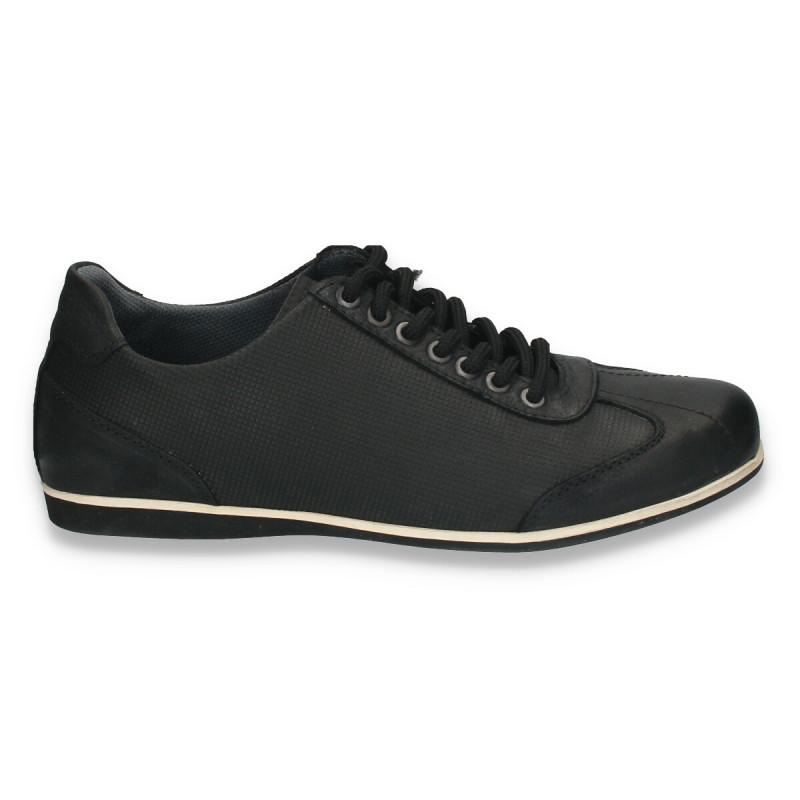 Sneakers moderni, din piele, pentru barbati, negri - W38