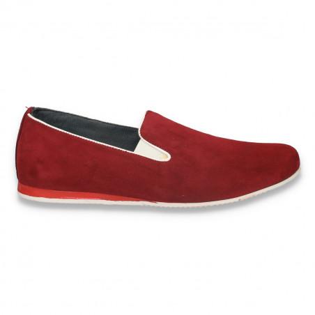 Pantofi fashion barbati, din piele intoarsa, bordeaux - W46