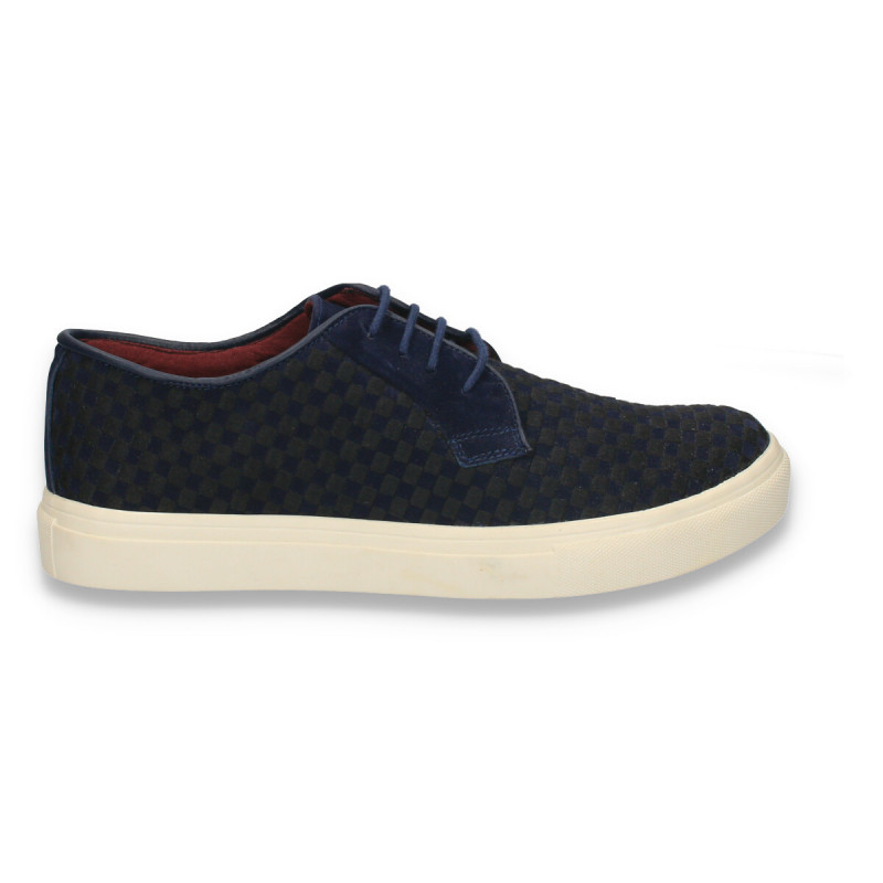 Pantofi casual pentru barbati, imprimeu tabla de sah, bleumarin - W49
