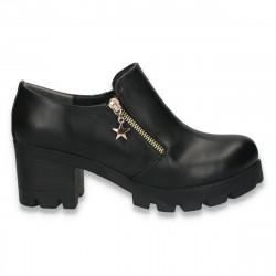 Pantofi dama cu toc masiv, negri - W51