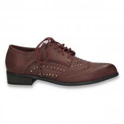 Pantofi casual dama, cu tinte metalice si varf ascutit, bordeaux - W52