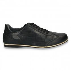Sneakers negri, moderni, din piele, pentru barbati - W53