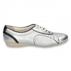 Pantofi casual dama, cu talpa subtire, argintii - W55