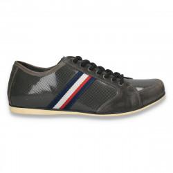 Sneakers gri, moderni, din piele, pentru barbati - W56
