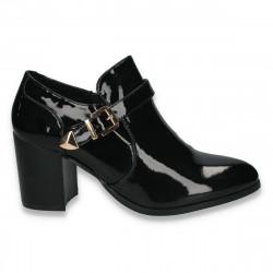 Pantofi dama din piele eco lacuita, cu toc mediu, masiv - W58