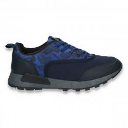 Sneakers pentru barbati, cu imprimeu stil army, bleumarin - W59