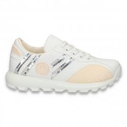 Sneakers din piele eco, pentru dama, albi - W60