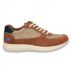 Sneakers pentru barbati, din piele intoarsa, maro - W63