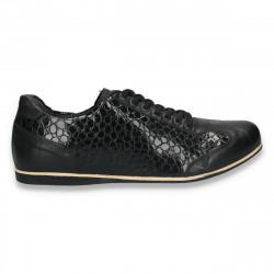 Sneakers negri, din piele lacuita, pentru barbati - W65