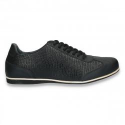 Sneakers negri, din piele, cu imprimeu croco, pentru barbati - W66