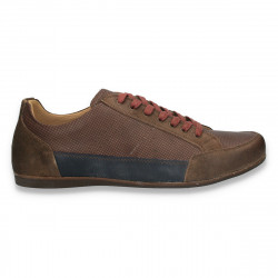 Sneakers maro, moderni, din piele, pentru barbati - W67