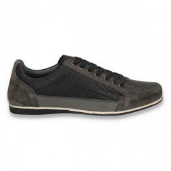 Sneakers, moderni, din piele, pentru barbati, negru-gri - W68