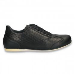 Sneakers negri, din piele cu imprimeu, pentru barbati - W70