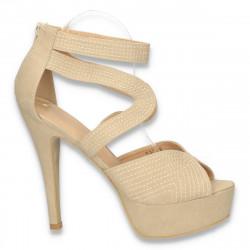 Sandale fashion, cu platforma, bej - LS237