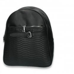 Rucsac modern pentru dama, cu imprimeu cusut, negru - M164