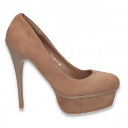 Pantofi cu toc inalt si platforma, maro - LS239