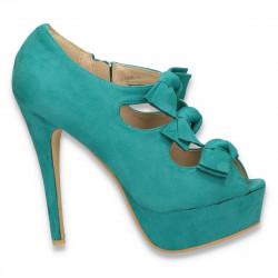 Pantofi femei, cu varf decupat si barete cu fundite, verde - LS240