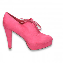 Pantofi femei cu siret, platforma si toc inalt, fucsia - LS241