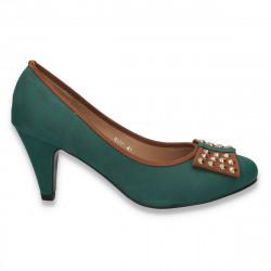 Pantofi dama cu toc mediu si fundita, verzi - LS244