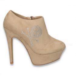 Pantofi dama inalti, cu aplicatii de strasuri, bej- LS246