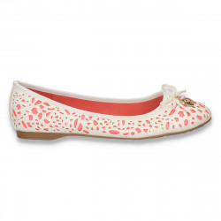 Balerini din piele eco cu perforatii, alb-roz neon - LS249