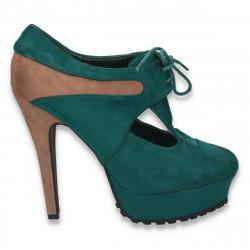 Pantofi femei cu siret, cu decupaj, verde-maro - LS251