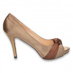 Pantofi eleganti, din satin, cu toc inalt si varf decupat, maro - LS252