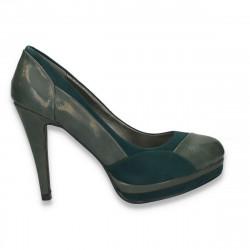 Pantofi vintage, cu toc si varf rotund, maro - LS253