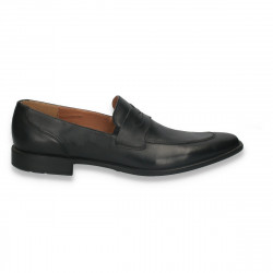 Pantofi fara siret, din piele, pentru barbati, negri - LS256