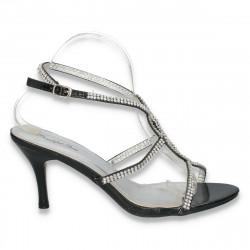 Sandale elegante pentru dama, cu strasuri, negre - LS263