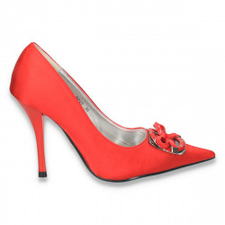 Pantofi eleganti, din satin, cu toc inalt si varf ascutit, rosii - LS265