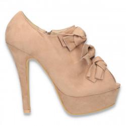 Pantofi femei, cu varf decupat si barete cu fundite, bej - LS266