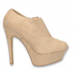 Pantofi dama inalti, din imitatie velur, bej- LS271