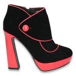 Ghete dama fashion, cu toc inalt, negru-fucsia - LS272