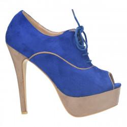 Pantofi dama , cu platforma si toc inalt, albastru-taupe - LS273
