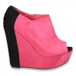 Pantofi glami dama, cu platforma foarte inalta, fucsia-negru - LS277